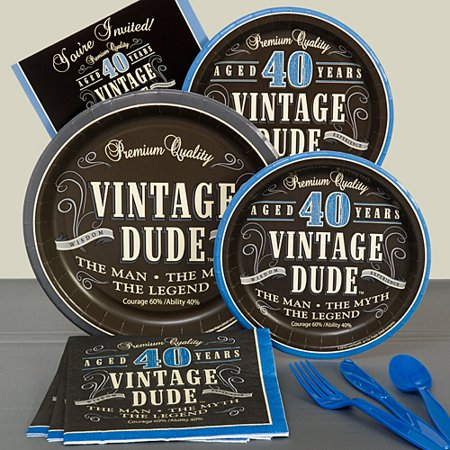 Vintage Dude 40th Basic Party Pack For 8](Vintage Dudes)