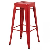 """Ajax 30"""" Contemporary Steel Tolix-Style Barstool - Red"""