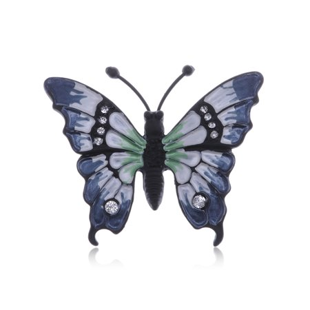 Indigo Blue Lady Butterfly  Bug Insect Blakc Painted Body Crystal Pin Brooch (Butterfly Pins)