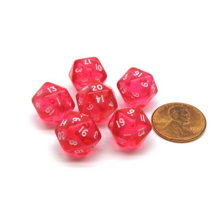 Translucent 12mm Mini 20-Sided D20 Chessex Dice, 6 Pieces - Pink with White](Pink Dice For Car)