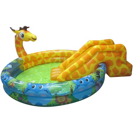 Banzai spray 39 n splash giraffe inflatable swimming pool for Can babies swim in saltwater pools