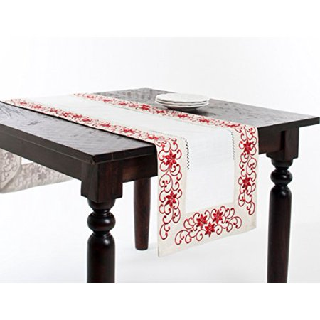 Ivory Table Runner (Fennco Styles Francine Embroidered & Cutwork Holiday Ivory Rectangular Table)
