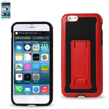 REIKO IPHONE 6 PLUS HYBRID HEAVY DUTY CASE WITH VERTICAL KICKSTAND IN BLACK RED