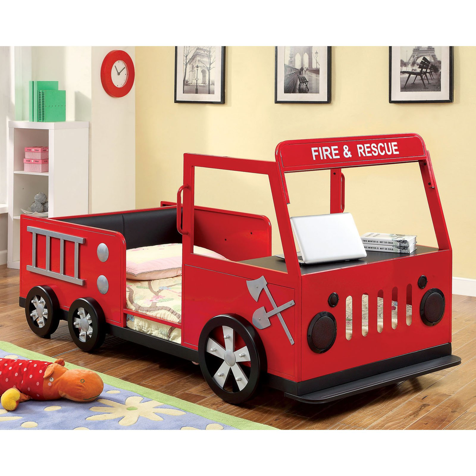 Rescue City Freddy Twin Fire Truck Bed Red by Enitial Lab
