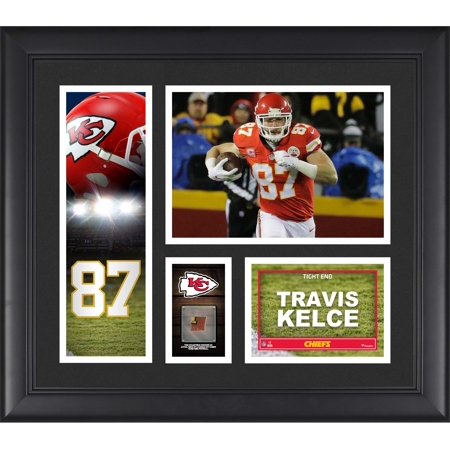 "Travis Kelce Kansas City Chiefs Framed 15"" x 17"" Player Collage with a Piece of Game-Used Football"
