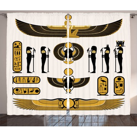 Egyptian Decor Curtains 2 Panels Set, Illustration Of Old Historical Egyptian Spirit Symbol Myth Icons Mummy Ra Sun Art, Living Room Bedroom Accessories, By Ambesonne (Egyptian Panel)