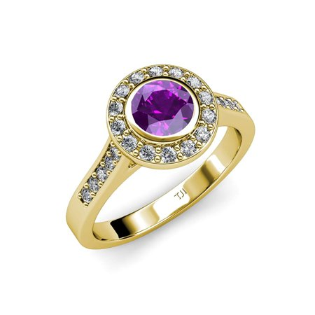 Amethyst and Diamond (VS2-SI1, F-G) Halo Engagement Ring 1.31 ct tw in 18K Yellow Gold.size 4.5 ()