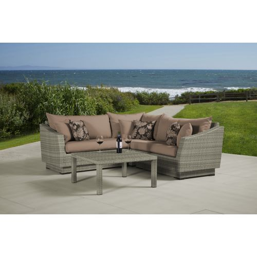RST Brands Cannes 4pc Sectional and Table Cannes 4pc Corner Sectional Set with C
