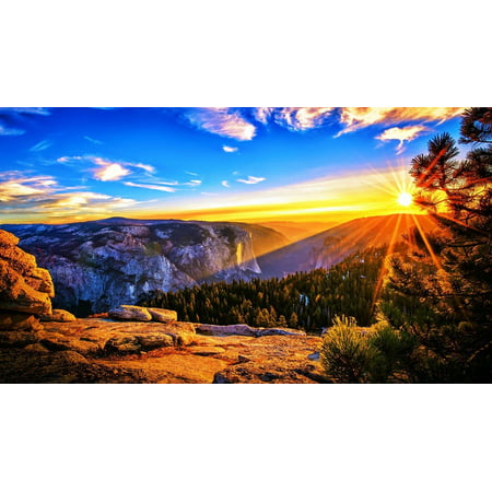Morning Framed Poster - LAMINATED POSTER Landscape Sunrise Mountains Scenic Morning Sky Poster Print 24 x 36