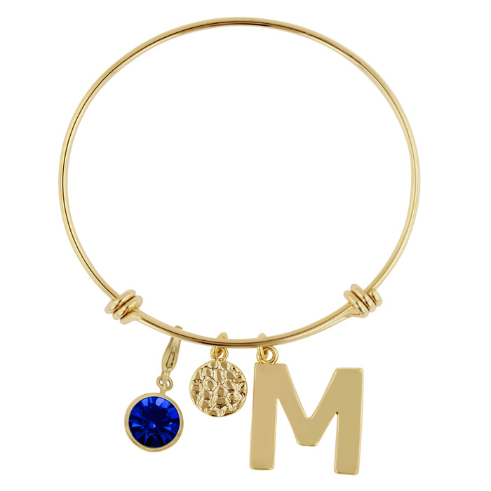 Initial Charm Bracelet With Sapphire Crystal Birthstone, For September Babies by SuperJeweler