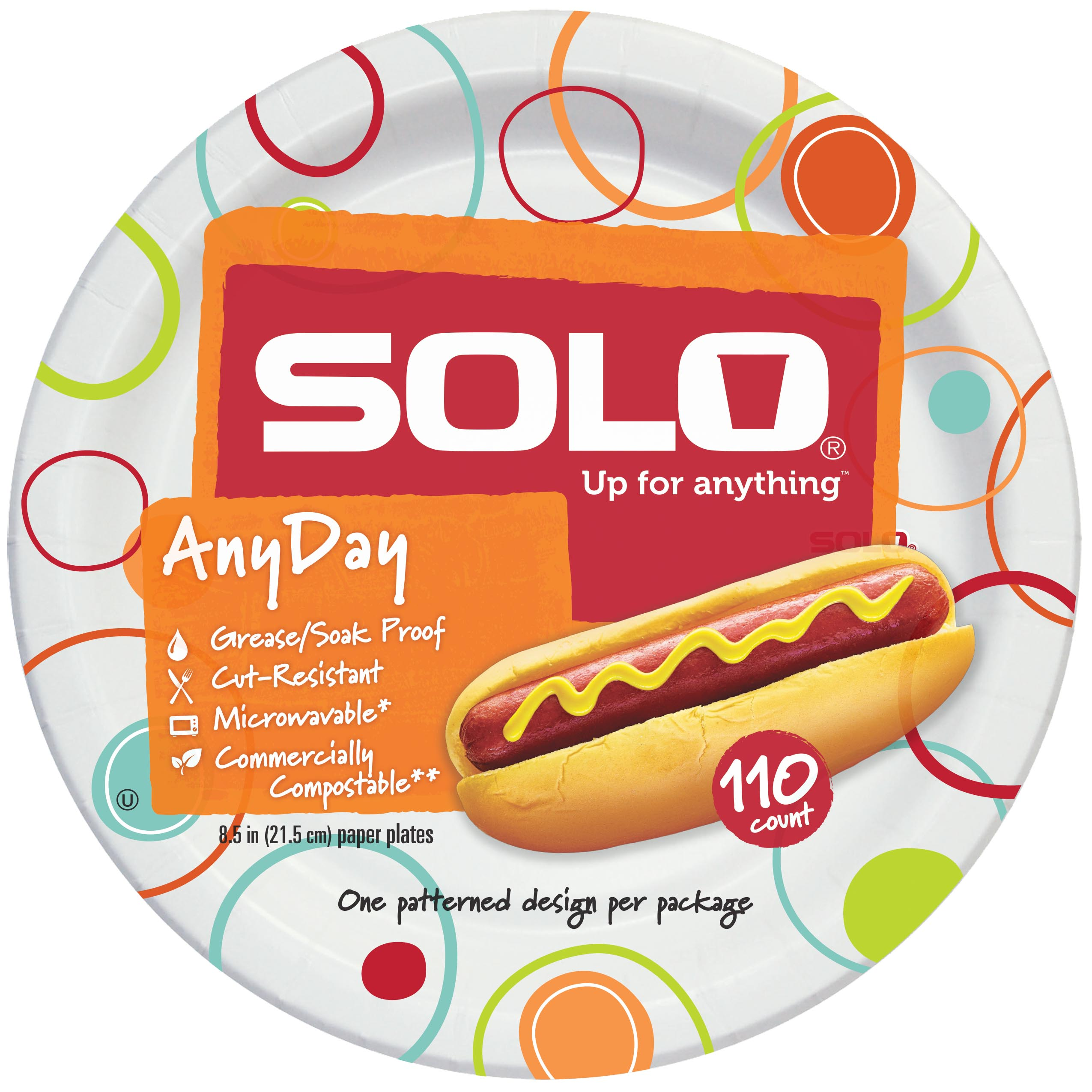 Solo Any Day Paper Plates 8.5\  110 Count  sc 1 st  Walmart.com & Solo Any Day Paper Plates 8.5\