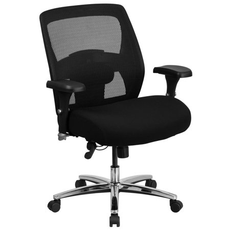 24/7 Intensive Use Big & Tall 500 lb. Rated Black Mesh Executive Ergonomic Office Chair with Ratchet