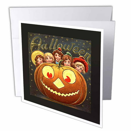 3dRose Vintage Halloween Jack o Lantern and Children, Greeting Cards, 6 x 6 inches, set of 6