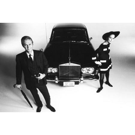 Steve McQueen and Faye Dunaway in The Thomas Crown Affair Rolls Royce classic car 24x36 (Steve Mcqueen Thomas Crown)