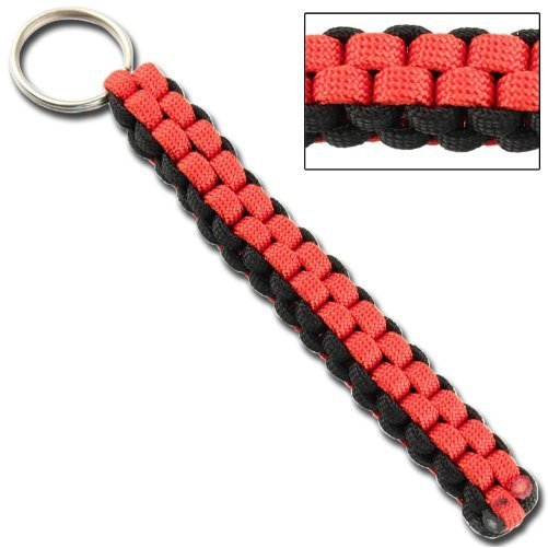 Square Braid Keychain Survival Paracord Red & Black