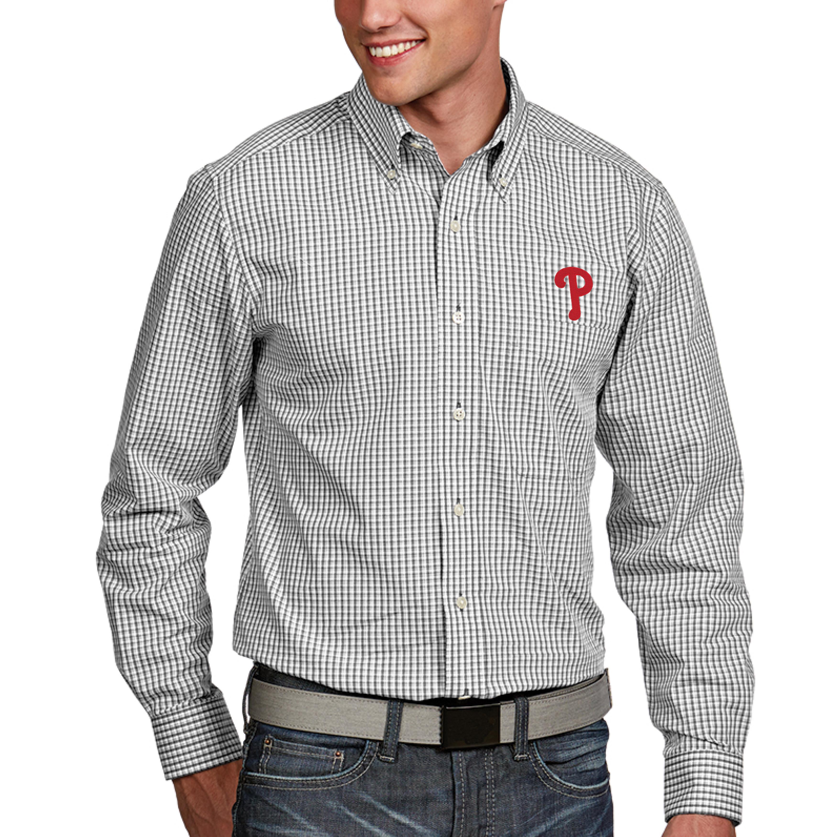 Philadelphia Phillies Antigua Associate Button-Down Dress Long Sleeve Shirt - White
