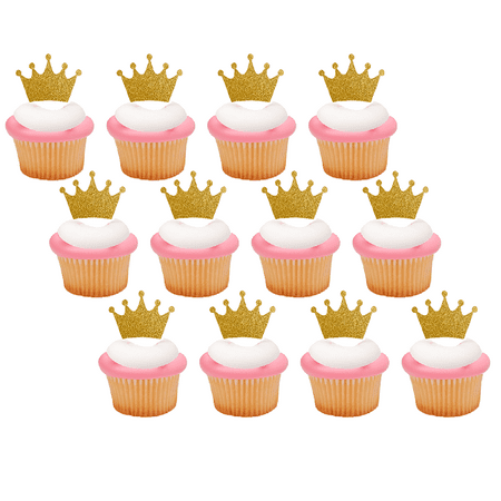 12pack Gold Glitter Princess Crown Tiara Cupcake Decoraiton Picks](Real Princess Tiaras)