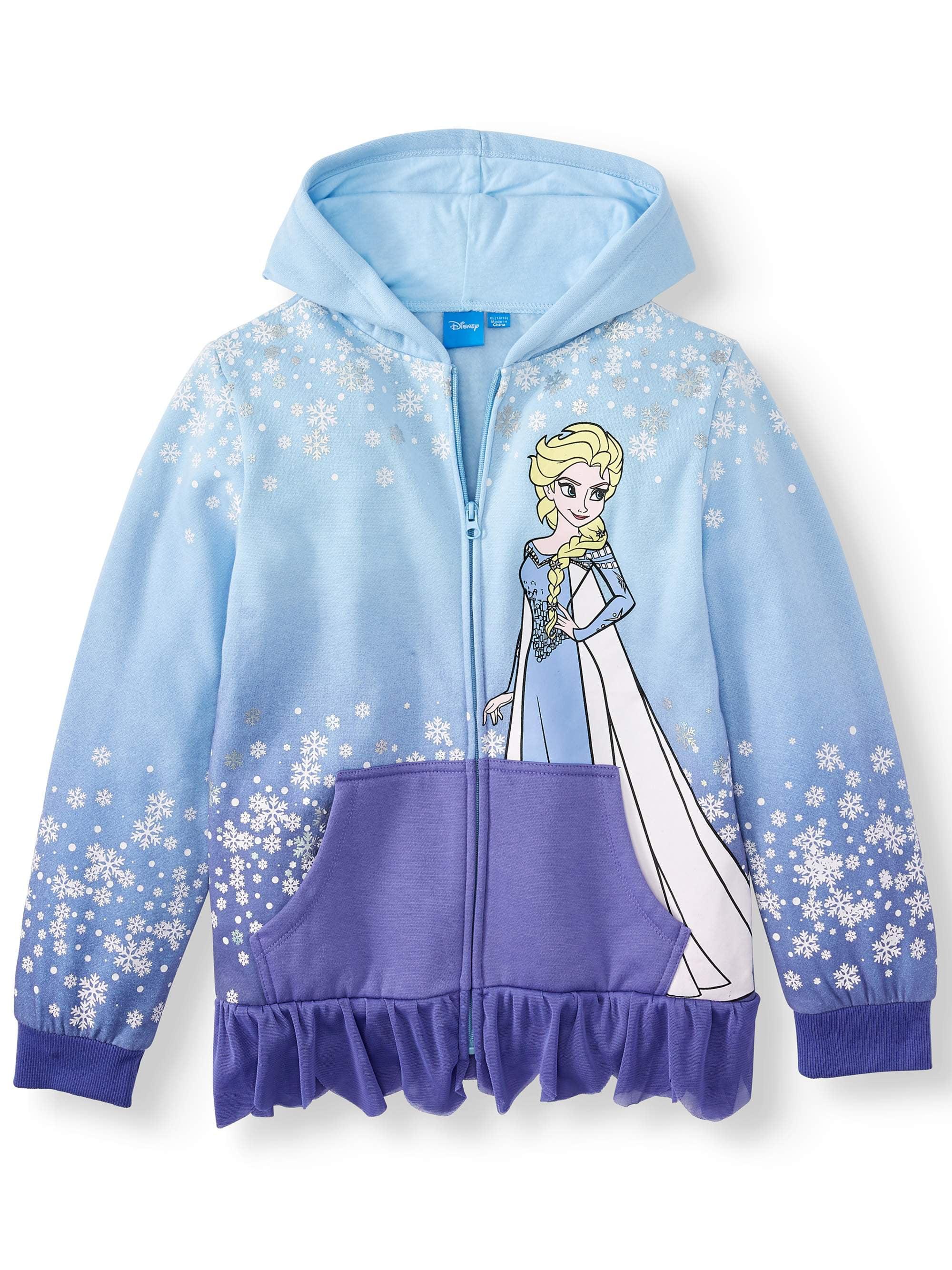 Disney Girls Frozen Princess Anna Elsa Olaf Hooded Long Sleeved Sweat Jacket