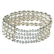 Bracelet extensible extensible à 4 rangs avec perles noires baroques et perles d'eau douce blanches Pearlyta (5 - 6 mm)