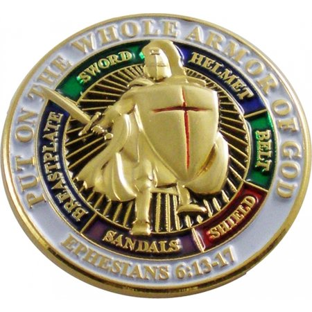 """Put On The Whole Armor of God Lapel Pin [Gold - 1""""]"""