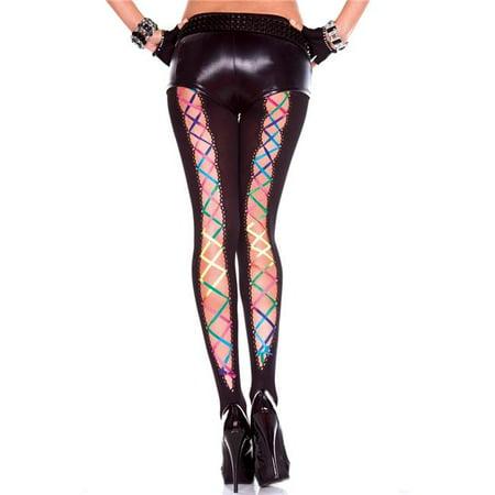 Music Legs 50014-BLACK-RAINBOW Rainbow Ribbon Lace Up Pantyhose, Black & Rainbow (Rainbow Lace)