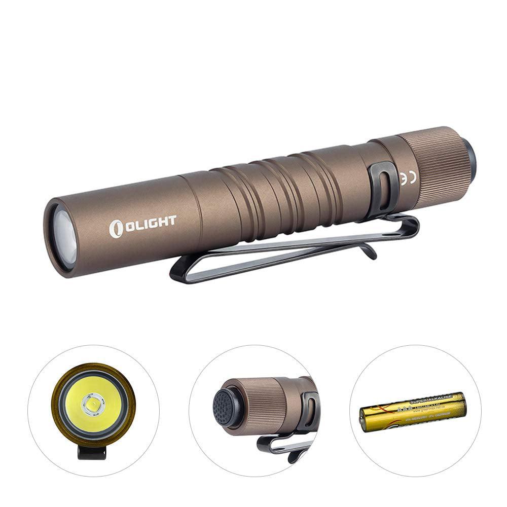 Olight I3T EOS 180 Lumens EDC flashlight with EdisonBright AAA battery carry case Olive Green
