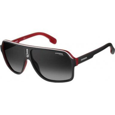Carrera Men's Ca1001s Aviator Sunglasses, Matte Black Red/Dark Gray Gradiet, 62 (Carrera Sunglasses Black Gold)