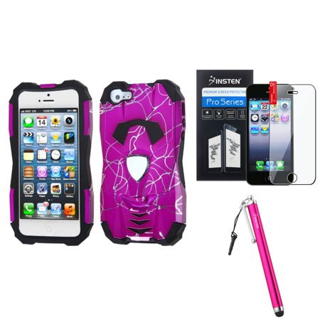 Insten Curved Lines Hot Pink/Black Car Case For iPhone 5S 5 + Stylus + Screen Guard (3-in-1 Accessory Bundle) ()