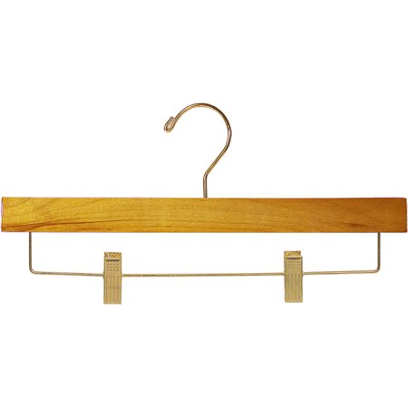 Wooden Bottoms Hanger with Honey Finish and Adjustable Cushion Clips, 14 Inch Pant Hanger with Brass Hardware (Set of 25) by International Hanger