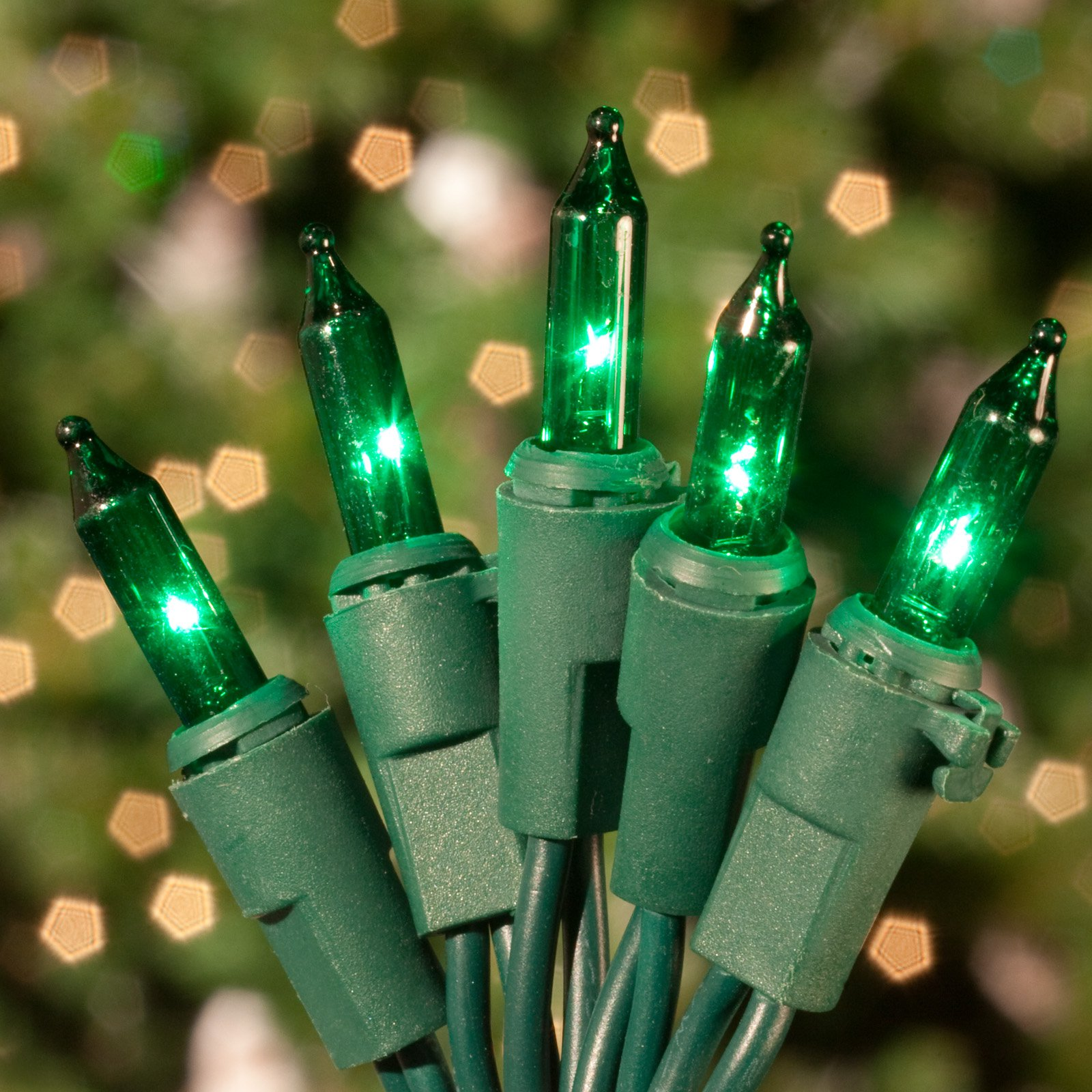 Commercial 100 ct. Green Mini Lights with Green Wire 6 in. Spacing (Case)