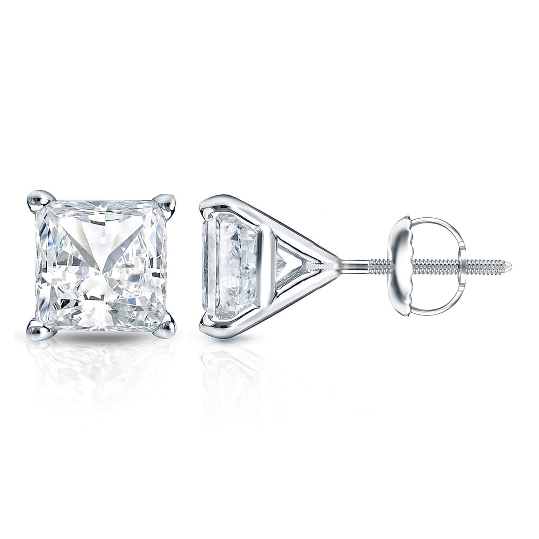 Auriya 14k Gold 1ct Tdw 4 Prong Martini Princess Cut Diamond Stud