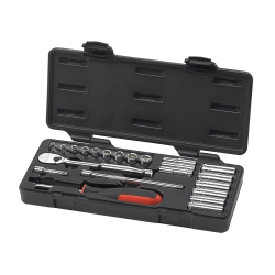 """GearWrench 80327 22 Piece 1/4"""" Drive Metric 6 And 12 Point Socket Set"""