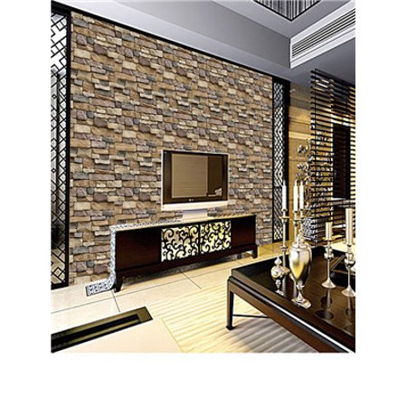 - 3D Wall Paper Brick Stone Rustic Effect Self-adhesive Wall Sticker Home Decor S
