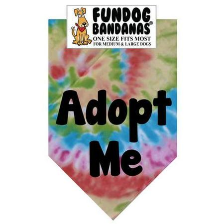 Fun Dog Bandana - Adoptez-moi (Brights) - Taille unique pour Med à Lg Les chiens, colorant de cravate écharpe animal