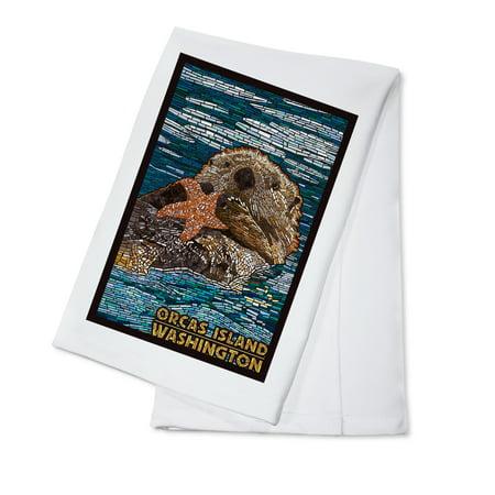 Washington Set - Orcas Island, Washington - Sea Otter - Mosaic -  Lantern Press Artwork (100% Cotton Kitchen Towel)