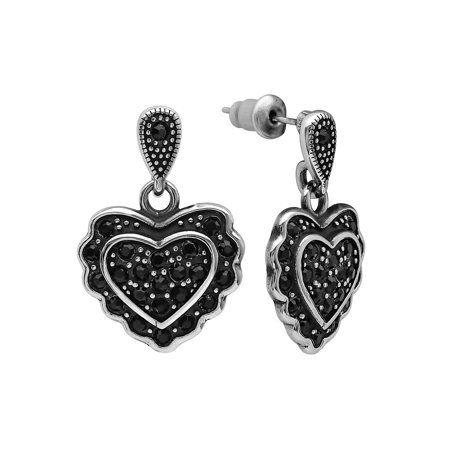 Women's Stainless Steel and Black Glass Heart
