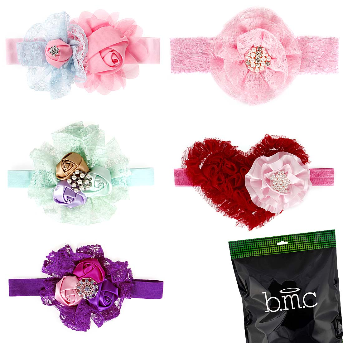 Bundle Monster 5pc Baby Girls Multicolor Elastic Lace Flower Hair Band Headband