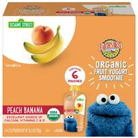 (6 Pouches) Earth's Best Organic Sesame Street Toddler Fruit Yogurt Smoothie, Peach Banana, 4.2 oz. Pouch