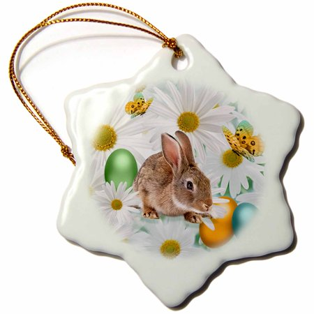 3dRose Easter Bunny Daisy Garden with Colored Eggs and Butterflies, Snowflake Ornament, Porcelain, 3-inch - Bunny Ornaments