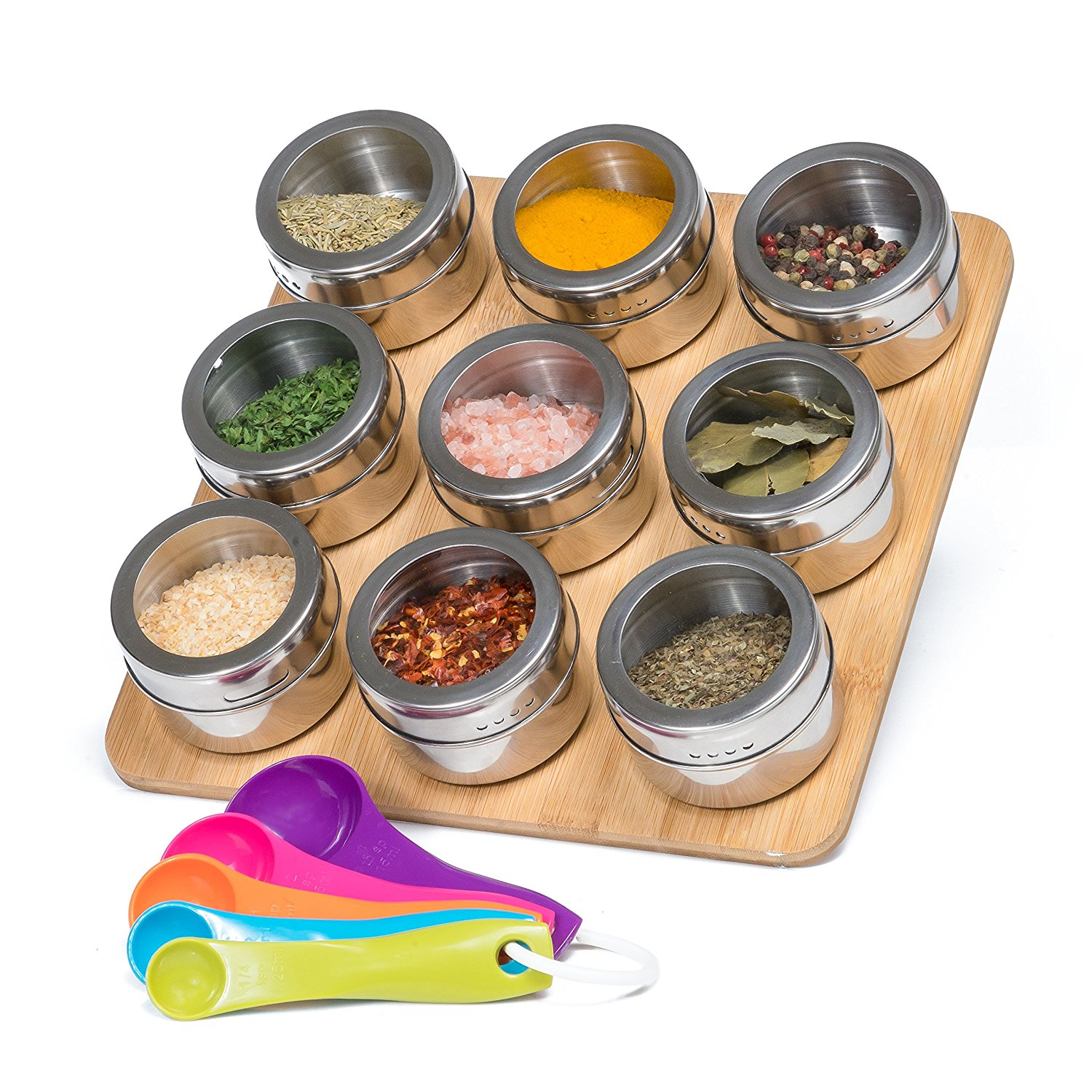 Nellam Spice Rack Magnetic with Bamboo Wood Stand and Wal...