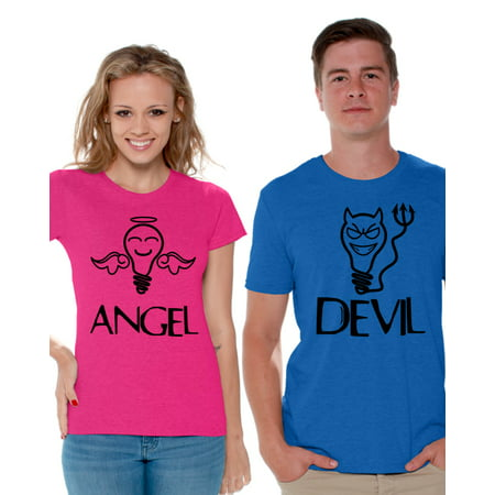 Awkward Styles Couple Shirts Angel Devil Shirts Matching Angel and Devil T Shirts for Couple Valentines Day Funny Couple Outfits Boyfriend and Girlfriend Couple Matching Shirts (Boyfriend And Girlfriend Halloween Outfits)