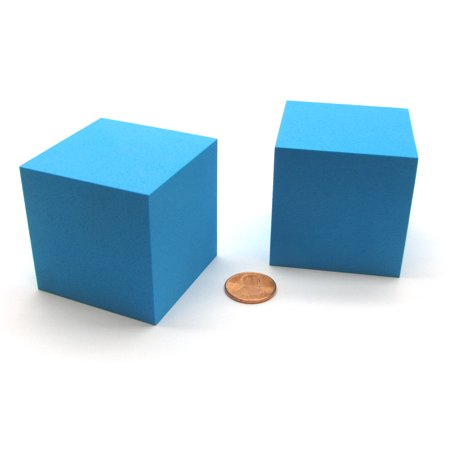 Pack of 2 Large Jumbo 50mm Blank Foam Dice Cubes - Blue