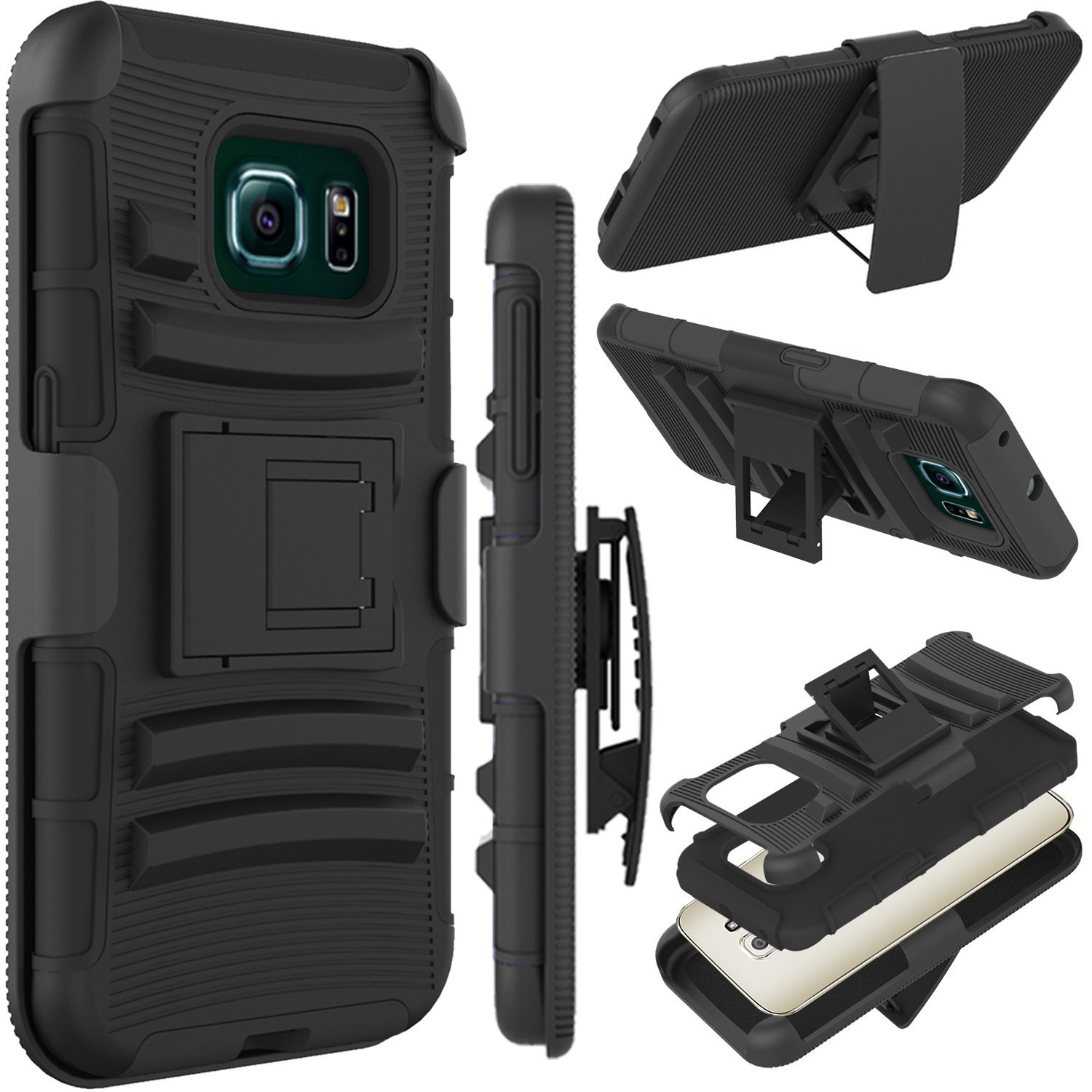 Galaxy S6 Edge Case, Samsung SM-G925 (5.1 inch) Case, Tekcoo ™ [Hoplite Series] Shock Absorbing Holster Locking Belt Clip Defender Heavy Kickstand Full Body Case Cover For Samsung Galaxy S6 Edge