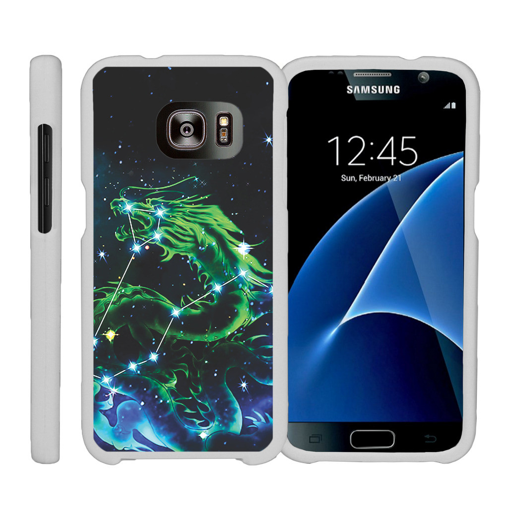 Samsung Galaxy S7 G930, [SNAP SHELL][White] Hard White Plastic Case with Non Slip Matte Coating with Custom Designs - Dragon Constellation Stars