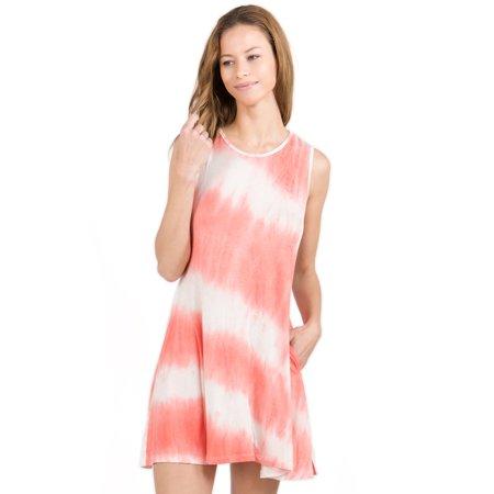 Dresses Promotion (Yelete Women Lightweight Jersey Knit Tie Dye Swing Tank Dress w Pockets,)