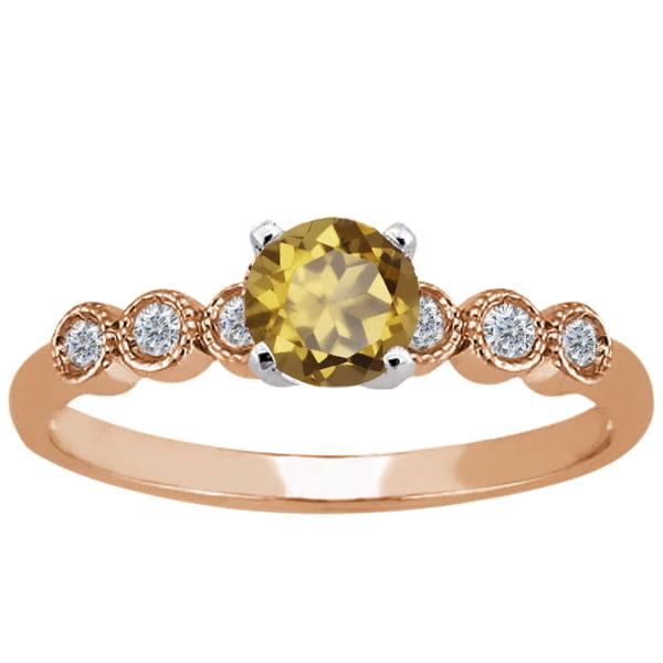 0.90 Ct Round Whiskey Quartz White Diamond 925 Rose Gold Plated Silver Ring