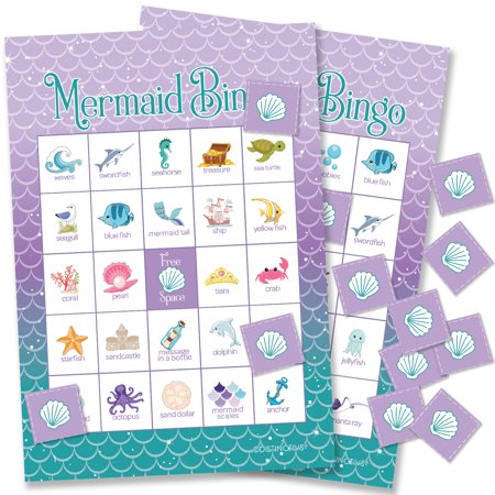 Indoor Birthday Party Games (Mermaid Bingo Party Game Cards 24 Player | Kids Birthday)