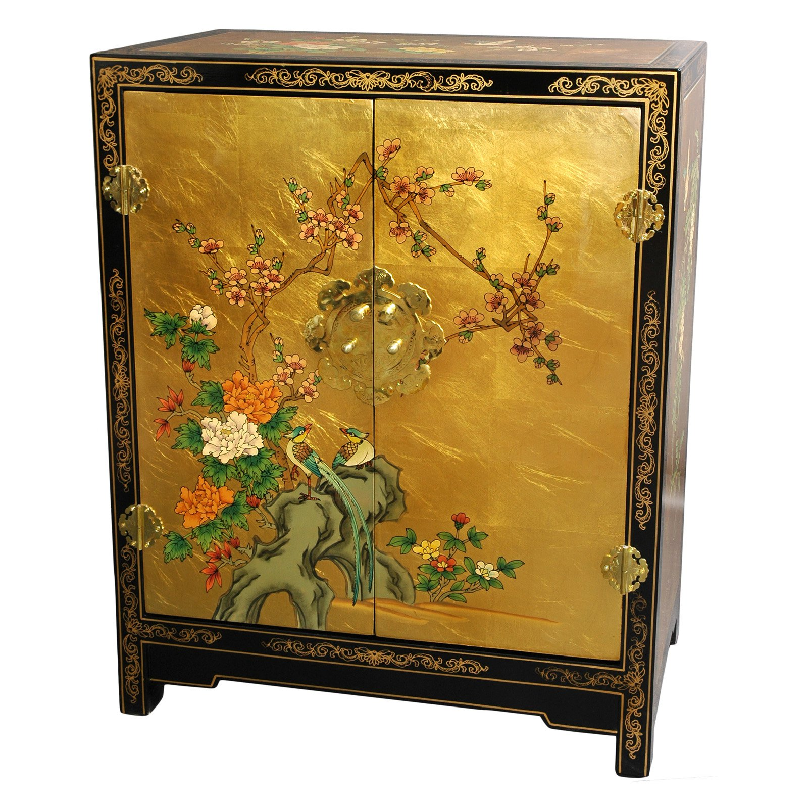 Gold Leaf Lacquer Cabinet