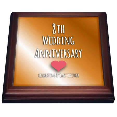 8th Wedding Anniversary.3drose 8th Wedding Anniversary Gift Bronze Celebrating 8 Years Together Eighth Anniversaries Eight Yrs Trivet With Ceramic Tile 8 By 8 Inch