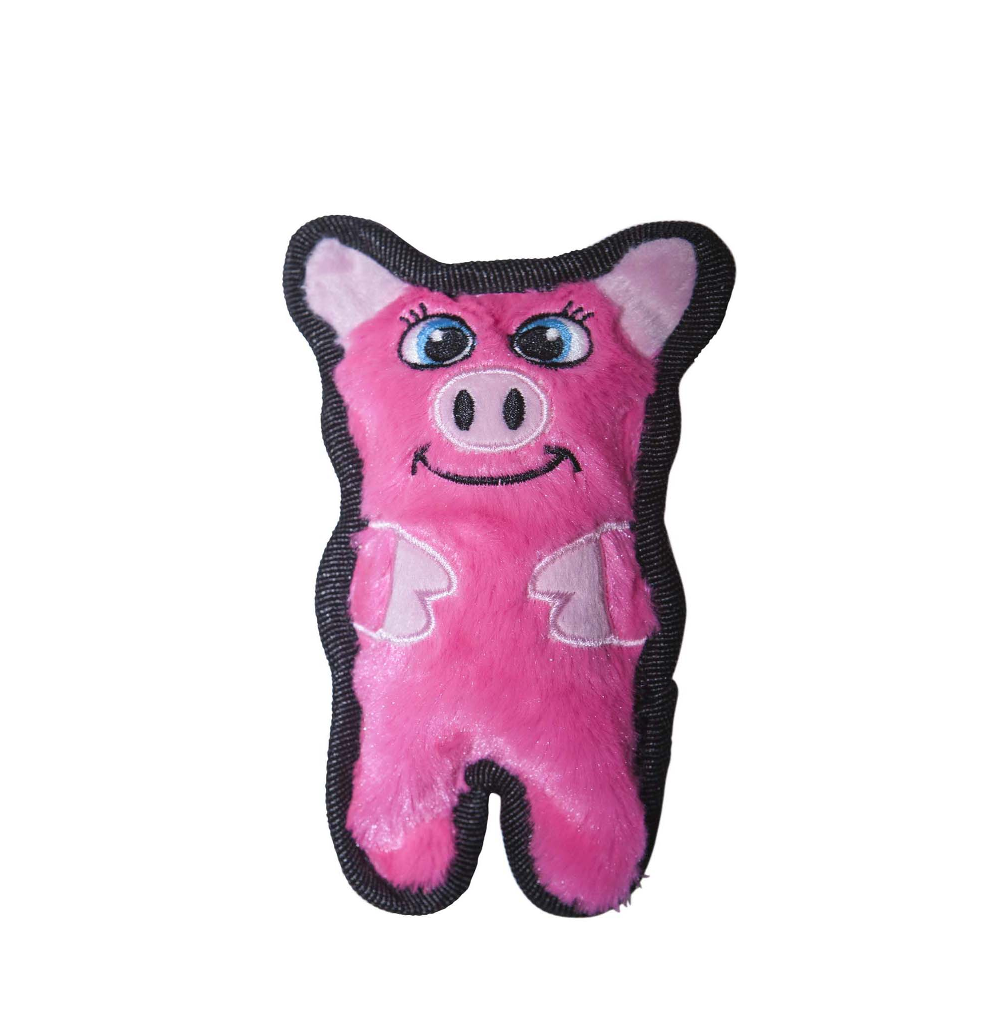 Invincibles Minis Stuffingless Durable Tough Plush Dog Squeaky Toy by Outward Hound, 1 Squeaker, Pig